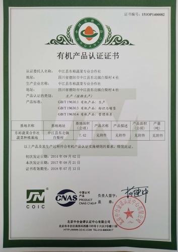 有机产品认证书2017.8.21柚子